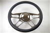 "Chrome Aluminum Steering Wheel 14"" 4 Slot Style"