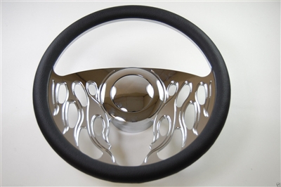 Chrome Aluminum Steering Wheel Flames style