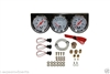 Chrome Steel Triple Gauge Kit Mechanical Oil Pressure Voltage Water Temperature