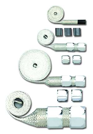 Braided radiator heater Hose Sleeving Kit chrome ends