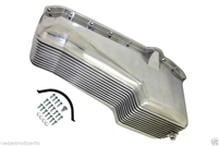 Polished Aluminum STOCK Oil Pan small block chevy driver side dip stick