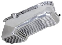 Polished Aluminum  Oil Pan 1986 and up passenger side dip stick one pc rear main seal