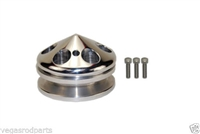Small Block Chevy Polished Aluminum Water Pump Pulley short single groove billet