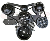 Ford Mustang 79-93 302 5.0L Pulley & Bracket Kit Serpentine Billet Aluminum BLACk