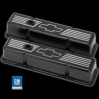 Billet Aluminum Small Block Chevy Bowtie Tall Valve Cover 350 305 327 400 BLACK