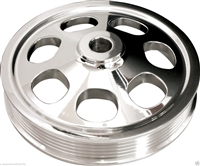 BILLET SPECIALTIES SBC POLISHED POWER STEERING PUMP PULLEY,PRESS-ON,SERPENTINE