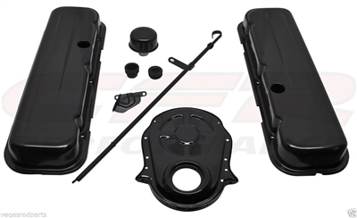 1965-95 CHEVY BIG BLOCK 396-427-454-502 BLACK STEEL short ENGINE DRESS UP KIT