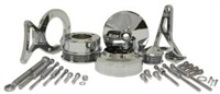 1979-93 FORD MUSTANG 5.0 BILLET ALUMINUM SERPENTINE PULLEY & BRACKET KIT -chrome