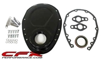 CHEVY SMALL BLOCK 283-305-327-350-400 STEEL TIMING CHAIN COVER SET W/ TIMING TAB