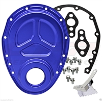 CHEVY SMALL BLOCK 283-305-327-350-400 ALUMINUM TIMING CHAIN COVER BLUE ROLLER CAM