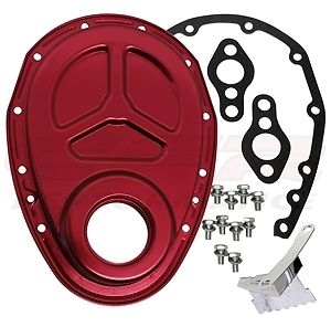 CHEVY SMALL BLOCK 283-305-327-350-400 ALUMINUM TIMING CHAIN COVER RED  ROLLER CAM