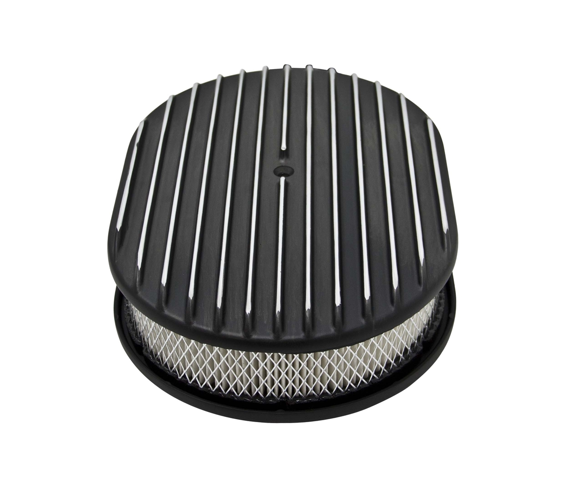 12 226 Oval Aluminum Air Cleaner Finned Black