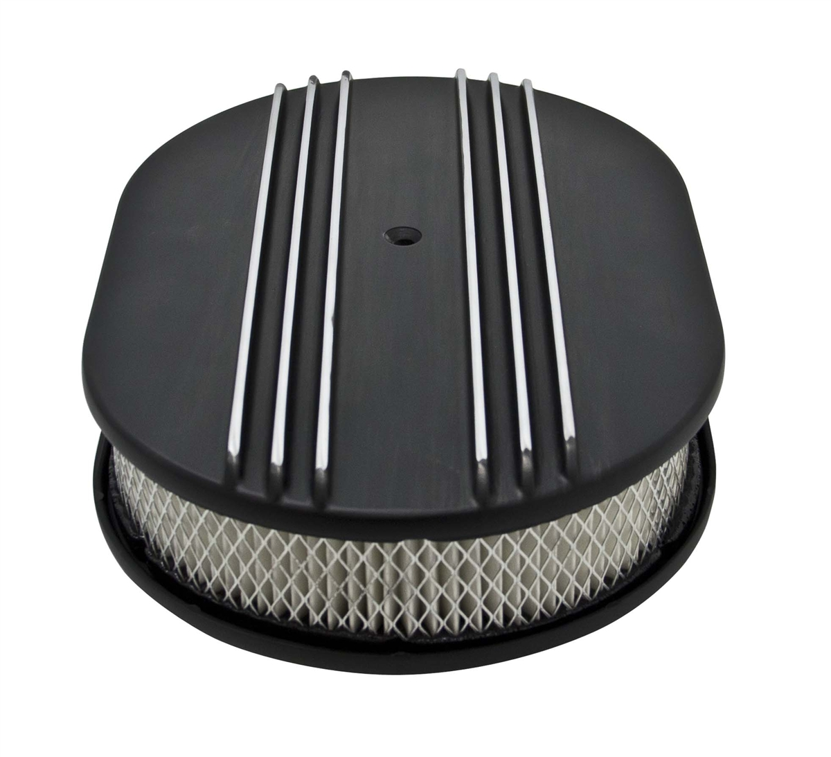 Finned Air Cleaner : Oval aluminum air cleaner partial finned black