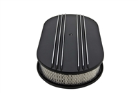 "15"" OVAL ALUMINUM AIR CLEANER - PARTIAL FINNED BLACK"