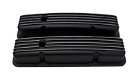 1958-86 CHEVY SB 283-400 SHORT  ALUMINUM VALVE COVERS - FINNED POLISHED BLACK