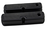 1962-85 FORD SB 289-302-351W-5.0L TALL ALUMINUM VALVE COVERS - FINNED BLACK