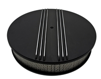 "CHEVY FORD MOPAR 14"" ROUND BLACK ALUMINUM AIR CLEANER Half FINNED"