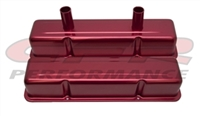 ALUMINUM TALL VALVE COVERS CHEVY Small blcok CIRCLE TRACK 283-400 ANODIZED RED