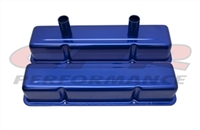 ALUMINUM TALL VALVE COVERS CHEVY Small blcok CIRCLE TRACK 283-400 ANODIZED BLUE