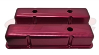 ALUMINUM OE STYLE TALL VALVE COVERS CHEVY SMALL BLOCK 283 350 400 ANODIZED RED