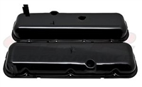 1965-72 CHEVY BB 396-427-454 SHORT VALVE COVERS BLACK WITH DRIPPER RAILS