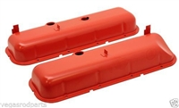 Big Block Chevy orange Steel Valve Covers 396 427 454 recessed painted oe style