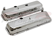 1965-72 CHEVY BIG BLOCK 396-427-454 TALL OEM STYLE (RECESSED CORNER) STEEL VALVE COVERS - CHROME