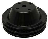 Small Block Chevy Black steel Water Pump Pulley long double 2 groove chevrolet