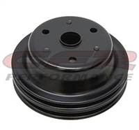 Crankshaft Pulley V-Belt 2-Groove Steel EDP black SBC Long Pump 350 400 chevy