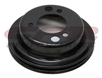 Black steel add on Crank Pulley Chevy short single groove 1 327 350 454 396