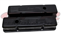 STEEL BLACK Valve Covers Chevy SBC 283 305 350 400 SMALL BLOCK 350 logo