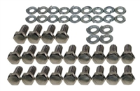 Ford Small Block Oil Pan Hex Bolts Kit - Chrome