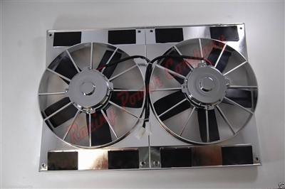 "Universal Dual High Flow 11"" Fan 12volt CHROME shroud electric FAN chevy ford"