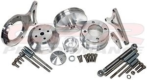 1979-1993 Ford Mustang 5.0L Pulley & Bracket Kit Serpentine Billet Aluminum CNC