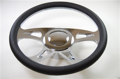 "Chrome Aluminum Steering Wheel 14"" CAROUSEL"