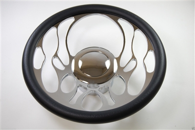 "Chrome Aluminum Steering Wheel FLAME STYLE 14"" flame flaming ididit billet grant spec"