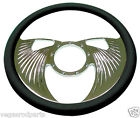 "14"" Chrome Aluminum steering wheel ANGEL WING GM chevy custom half wrap"