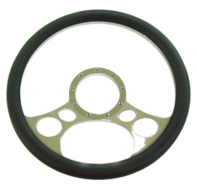 "Chrome Aluminum Steering Wheel 14"" circles flaming ididit billet grant specialty"