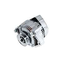 CHROME MINI ALTERNATOR DENSO STREET ROD RACE 1-WIRE 90 AMP one wire street rod