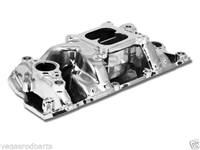 Intake Manifold plus Carbureted Aluminum crosswinds polished small Chevy 52025