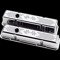 Polished Aluminum Small Block Chevy Valve Cover 305 350 327 Chevrolet cross flag