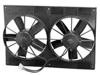 "Universal Dual High Flow 11"" Fan 12volt Black Plastic shroud electric"