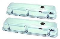 buick Valve Covers Stock Height Steel Chrome Plain Buick 350 V8 Pair 1968 - 1981