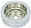 Small Block Chevy polished aluminum Crank Pulley long triple groove chevrol 3 v