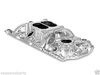 Aluminum Small Block Chevy Dual Plane intake Manifold vor 350 327 400 brock polished