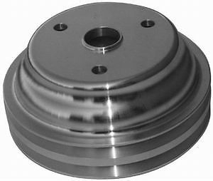 Small Block Chevy Aluminum polished Crank Pulley long double groove chevrol 2