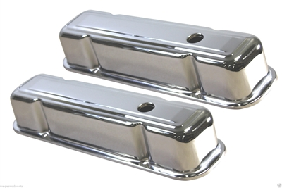 1959-79 PONTIAC 301-326-350-389-400-421-428-455 V8 TALL STEEL VALVE COVERS CHRome