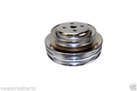 Water Pump Pulley V-Belt 3-Groove, Steel Chrome Ford 289 302 1964 -1973 smog