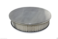 "CHEVY FORD MOPAR 14"" ROUND POLISHED ALUMINUM AIR CLEANER SMOOTh flat base"