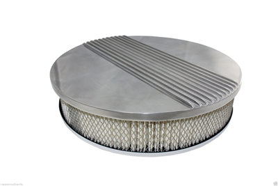 "CHEVY FORD MOPAR 14"" ROUND POLISHED ALUMINUM AIR CLEANER - RETRO FINNED"